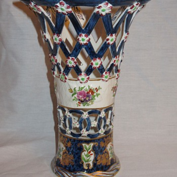 Booths England Porcelain Lattice Vase - China and Dinnerware