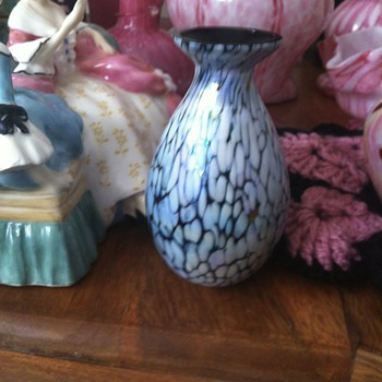 Blue,white,purples and pink vase - almost an oil spill look - sold as seller thinking Cathiness glass - Art Glass