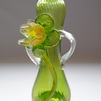 Kralik Iridescent Vase with Applied Flower