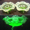 Fenton Uranium Glass Opalescent Basket Weave Candle Holders