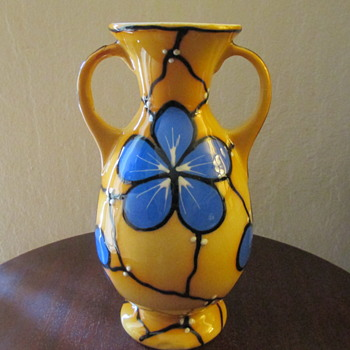 Ditmar Urbach Vase c.1920s Cornflower Pattern made in Czechoslovakia.  - Art Pottery