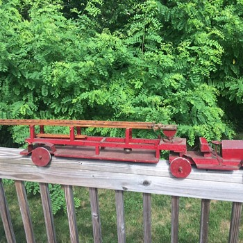Antique Wood/Tin Fire Ladder Truck Toy - Toys