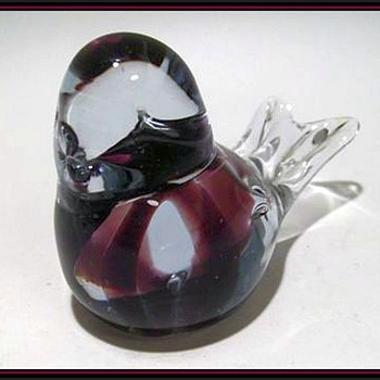 Art Glass Bird - with Purple Swirls