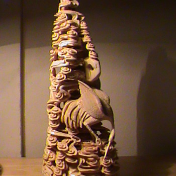 Beautiful Chinese Ivory Carving Mountain/Clouds? and Crane Signed