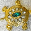 VINTAGE TURTLE BROOCH WITH RHINESTONES