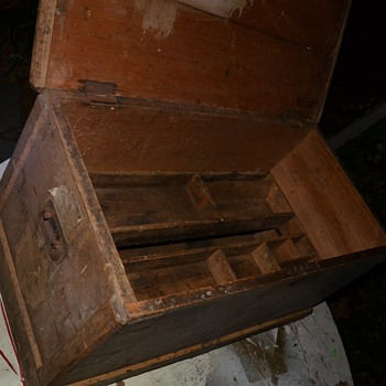 Very large old wooden toolbox