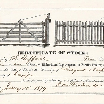 ORIGINAL STOCK CERTIFICATE - AUTHENTICATED - Paper