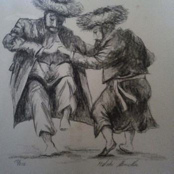 Two Jewish men dancing