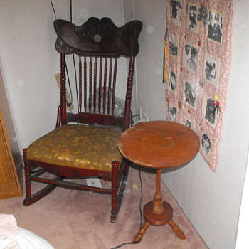 Old sewing rocker cushioned seat