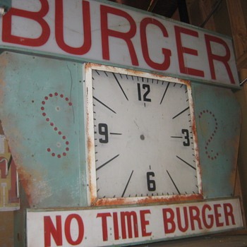 Vintage 1950's NO TIME BURGER Antique Plexi-Back Lit Sign / clock