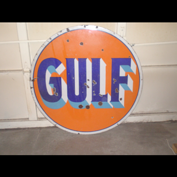 Double Sided Gulf Porcelain Sign (Age?) - Advertising