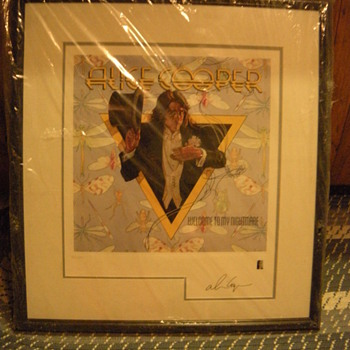 Autographed Alice Cooper numbered, framed lithograph