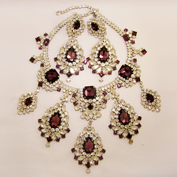 Vintage Kenneth Jay Lane Massive Rhinestone Necklace and Earrings Set