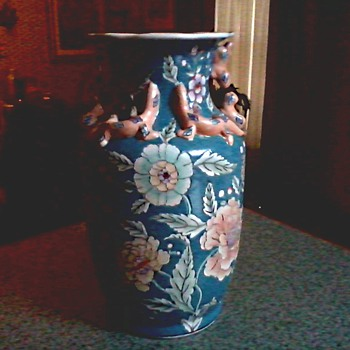 "Macau 14 "" Salamander Vase /Floral Design with Applied Figures/ Circa 1960-70 - Asian"