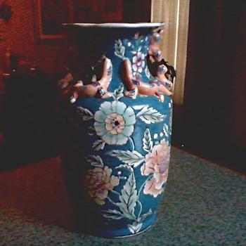 "Macau 14 "" Salamander Vase /Floral Design with Applied Figures/ Circa 1960-70 - Asian"