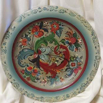 Rosemaling Hand Painted Wooden Charger