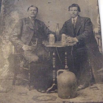 Tintype of hard drinkers with Stoneware JUG