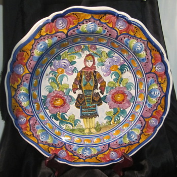 Hand (look at the hands) Painted Woman on Ceramic Platter- - Pottery