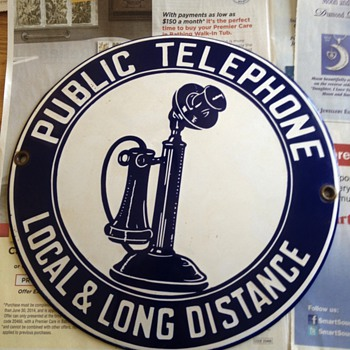 Porcelain convex phone sign  - Signs