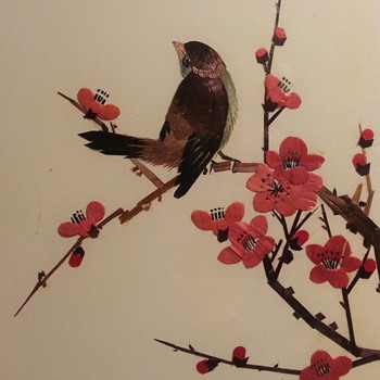 bird picture made from cut and colored bamboo?