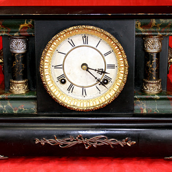 Antique Black Mantel Clock - Clocks