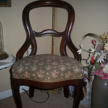 Victorian walnut carved side chair - Furniture