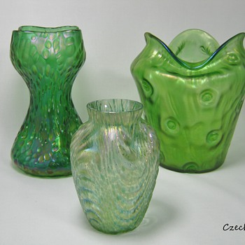 Loetz Art Glass, Group shots Rolling in the greens ~~~