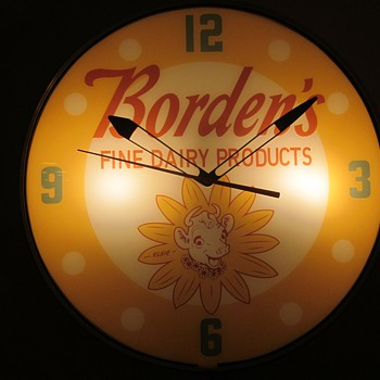 Borden's Ice Cream 18 Inch Lackner Clock 1950's  - Clocks