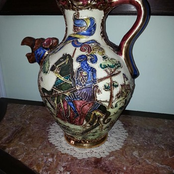 Bought in France, Wine pourer? Stunning ornate  Jousting scene- help!!!!?? - Art Pottery