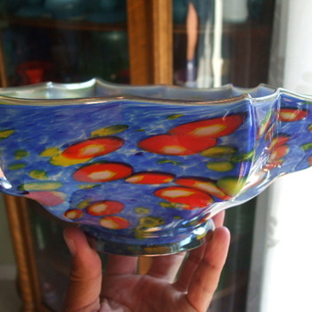 Large Kralik Millefiori Iridized Knuckle Bowl in Blue - Art Glass
