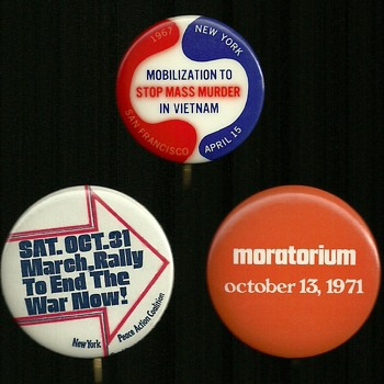 3 More Vietnam Protest Pinback Buttons - Medals Pins and Badges