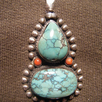 Native American sterling silver turquoise red coral pendant - Native American