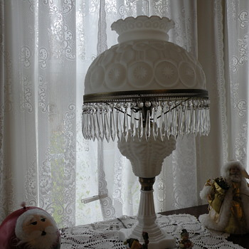 Milk Glass Lamp with Crystal Prisms .