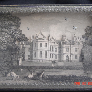 Strange Wooden and Paper Box with a 3-d Victorian Mansion Scene Under Glass - Victorian Era