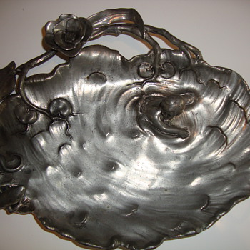 art nouveau pewter table piece
