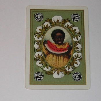VINTAGE  RAILROAD TRADE CARD (COTTON BELT) c.1909 BLACK GIRL WITH WATERMELON,AMID COTTON FLOWERS - Cards