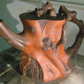 HUGE Clay Teapot w/ Engraved Chinese Writing - Asian