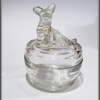JEANNETTE Covered Powder Dish / Trinket Dish -- SCOTTIE DOG