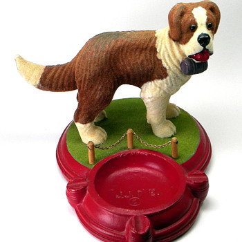 St. Bernard Chalkware Ashtray - Tobacciana