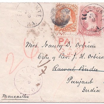 1868 Cover to Pakistan - Translation help needed - Stamps