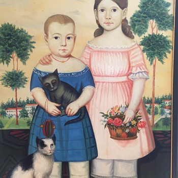 American painting of children with cats