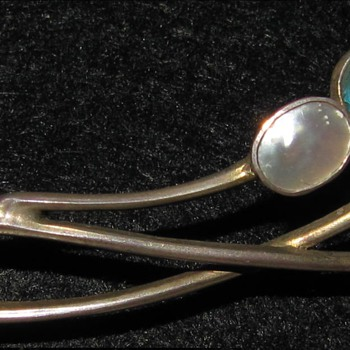 Levinger & Bissinger plique-a-jour enamel pearl brooch.