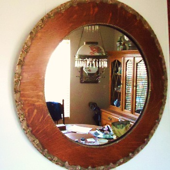 1/4 Sawn Oak mirror circa 1900, but SAD SAD STORY!!! 2 oil lamps changed to electric