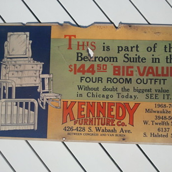 Pre-20's Cardboard Trolley Car Furniture Store Advertisement Sign - Signs