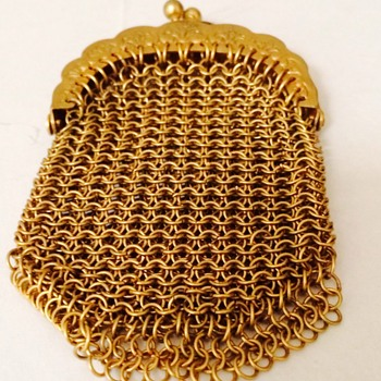 Antique 14kt Gold  Mesh Chatelaine Purse