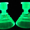 Pair of Vaseline Uranium Candlesticks