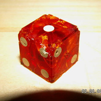 Antique Bakelite Red Casino Dice ~ 1940's