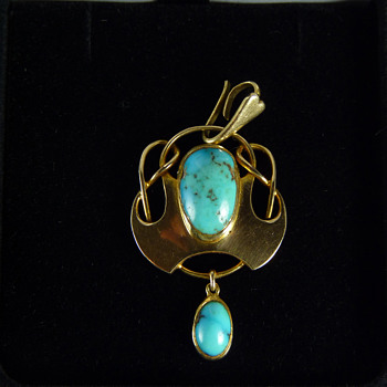 Murrle Bennett 15ct Gold Turquoise Pendant w. Original Enhancer Bale
