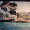 My grandfathers WW2 battle scene painting's that he sent home from the Pacific.