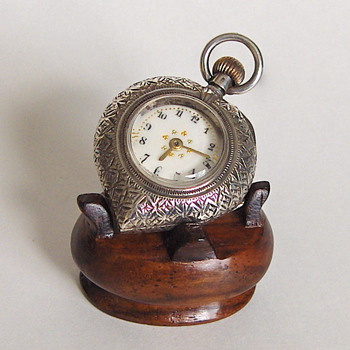 Early 20th Lady's Engraved Heart Sterling Swiss Pocket Watch